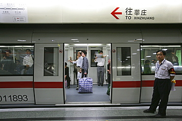 Metro Shanghai, mass transportation system, subway, public transport, underground station, Guard, commuters