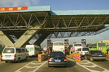 Traffic Shanghai, tollgate, motorway, traffic lane, stop