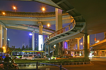 Gaojia motorway, Gaojia, elevated highway system, bridge, im Zentrum von Shanghai, Expressway, puzzle of concrete tracks