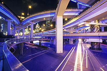Gaojia motorway, Gaojia, elevated highway system, bridge, im Zentrum von Shanghai, Expressway, puzzle of concrete tracks, puzzle of concrete tracks
