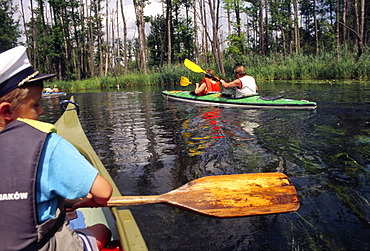 Kayaking down the Krutynia River, Masuria, Poland