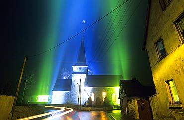 Europe, Germany, Thuringia, Weimar, Feininger Church Gelmeroda with light installation, Lichtskulptur Gelmeroda -LS 9803-
