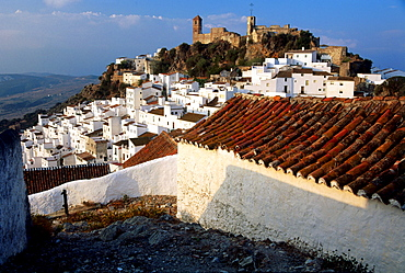 Houses of the old town in the sunlight, Casares, province of Malaga, Andalusia, Spain, Europe