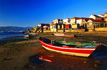 Combarro with store houses, Ria de Pontevedra, Province Pontevedra, Galicia, Spain