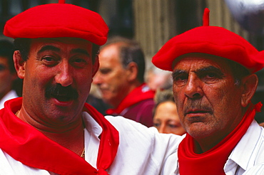 In front of the town hall, city hall, Fiesta de San Fermin, Pamplona, Navarra, Spain