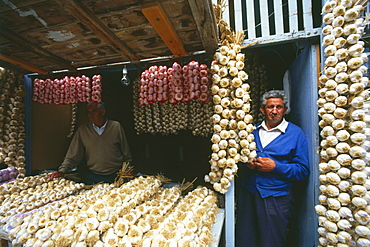 Garlic salesman, Pamplona, Navarra, Spain