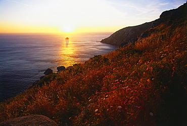 Sunset at Cabo Finisterre, Province La Coruna, Galicia, Spain