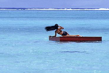 Wind-Blown Hair, Bathing Platform near Muri Beach, Rarotonga, Cook Islands