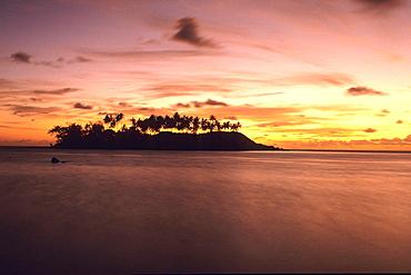 Motu at Sunrise, View from Muri Beach, Rarotonga, Cook Islands