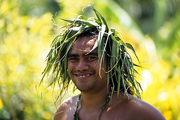 Man with Leaves on Head, Cook Islands Cultural Village, Rarotonga, Cook Islands
