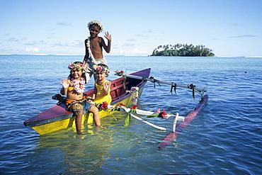 Flower Children on Canoe, View from Muri Beach, Rarotonga, Cook Islands