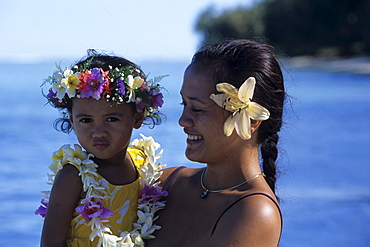 Mother and Daughter with Flowers in Hair, Muri Beach, Rarotonga, Cook Islands