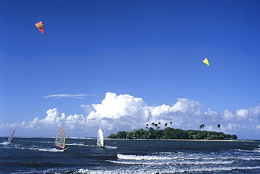 Windsurfers & Motu Martin, View from Hiti Mahina Beach, Tahiti, French Polynesia