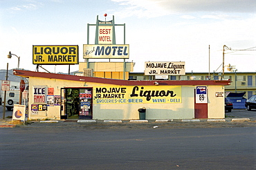 Store with lots of signs, Mojave Desert, California, USA