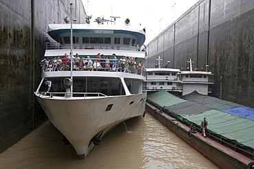 Ships inside Three Gorges Dam Shiplock, Sandouping, Yichang, Xiling Gorge, Yangtze River, China