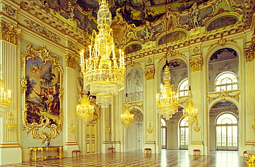 Europe, Germany, Bavaria, Munich, Nymphenburg Palace, interior view of the Hall