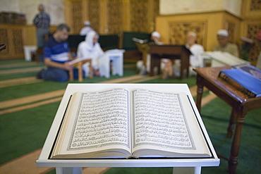 Open Koran book in the Aleppo Great Mosque, Aleppo, Syria, Asia