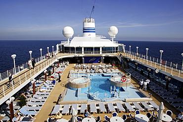 Sun deck, deck chair, pool, cruise ship MS Delphin Renaissance, Cruise Bremerhaven, South England, England
