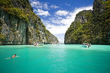 Snorkeling trip to Pileh, a beautiful scenic lagoon, Ko Phi-Phi Leh, Ko Phi-Phi Islands, Krabi, Thailand