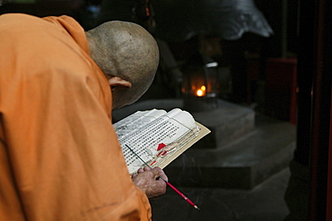 Old monk reading holy scripts, Wannian monastery, Emei Shan, Sichuan province, China, Asia