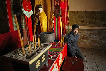 Interior view of the temple inside the hanging monastery, Heng Shan North, Shanxi province, China, Asia