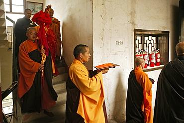 abbot with monks, Nantai temple, Heng Shan south, Hunan province, Hengshan, Mount Heng, China