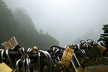 padlocks, locked and the key thrown down the mountain, symbol for couples to pledge faithfulness, Huang Shan, Anhui province, China, Asia, World Heritage, UNESCO