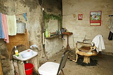 Interior view of a rural barbershop, Chengkun, China, Asia