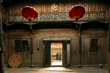 View at a traditional courtyard of house at the village Hongcun, Huang Shan, China, Asia