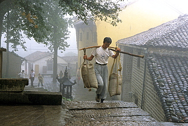 Porter carrying building material in front of Tianchi monastery at the village Jiuhuashan, Anhui province, China, Asia
