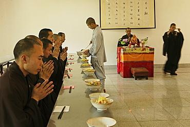 dining hall, Buddhist College, Ganlu Temple, Jiuhua Shan Village, Jiuhuashan, Mount Jiuhua, mountain of nine flowers, Jiuhua Shan, Anhui province, China, Asia