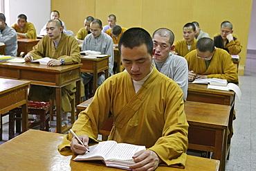 class, Buddhist College at Ganlu Temple, Jiuhuashan, Mount Jiuhua, mountain of nine flowers, Jiuhua Shan, Anhui province, China, Asia