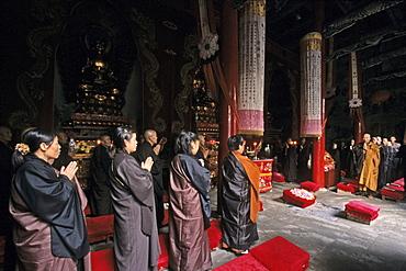 prayer in summit monastery, Buddhist Island of Putuo Shan near Shanghai, Zhejiang Province, East China Sea, China, Asia