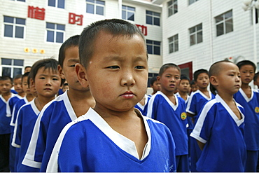 Kung Fu training at kindergarten age at one of the many new Kung Fu schools in Dengfeng, Song Shan, Henan province, China