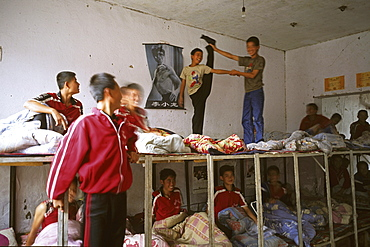 dormitory in Kung Fu school near Shaolin, 1987, Song Shan, Henan province, China, Asia