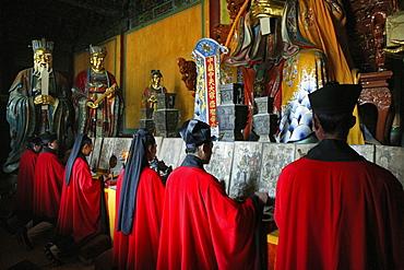 Taoist monks in Zhongyue temple, Taoist Buddhist mountain, Song Shan, Henan province, China