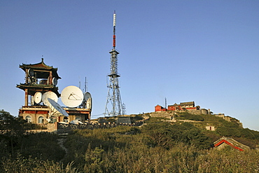 Disused satellite dishes, a blight on the summit of Mount Tai, Tai Shan, Shandong province, World Heritage, UNESCO, China