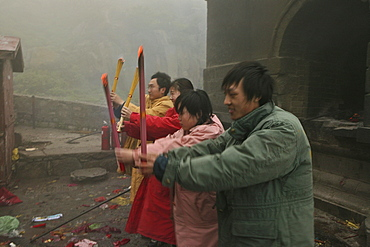 Prayers and offering from religious followers, Azure Clouds Temple, Mount Tai, Tai Shan, Shandong province, World Heritage, UNESCO, China