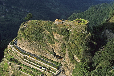 Water reservoir, garden terraces and Tianzhu Feng monastery village, Mount Wudang, Wudang Shan, Taoist mountain, Hubei province, UNESCO world cultural heritage site, birthplace of Tai chi, China