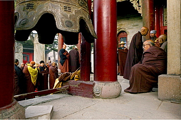 Buddhist monks honouring Wenshus at the birthday celebrations, red columns of temple, Xiantong Monastery, Wutai Shan, Five Terrace Mountain, Buddhist Centre, town of Taihuai, Shanxi province, China