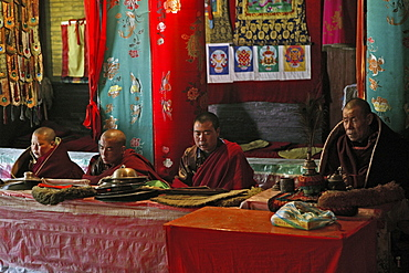 prayer ceremony Pusa Ding monastery, yellow cap monks celebrate, winter, Xiantong Monastery, Wutai Shan, Five Terrace Mountain, Buddhist Centre, town of Taihuai, Shanxi province, China, Asia