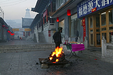 Chinese New Year Festival with bonfire, fire, Taihuai, Mount Wutai, Wutai Shan, Shanxi province, China