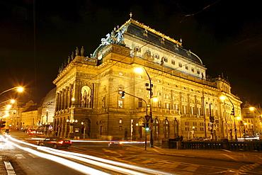 National Theatre at night, Nova Mesto, New Town, Prague, Czech Republic