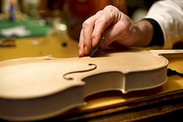 Man making a violin, Antique Violin repair shop, Old Town, Prague, Czech Republic