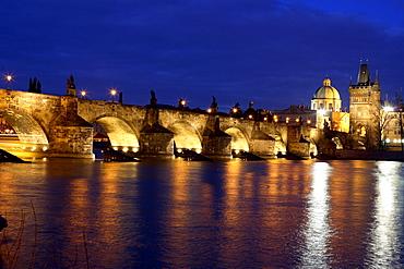 Charles Bridge at night, Vltava River, Prague, Czech Republic
