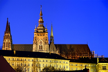 View of St Vitus Cathedral, Prague Castle, Hradcany, Prague, Czech Republic