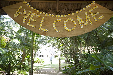 Frangipani Flower Welcome Sign, Cap Lazare Restaurant, Lazare Bay, Mahe Island, Seychelles