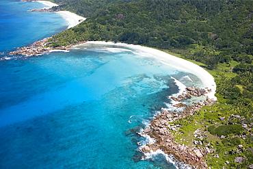 Aerial Photo of Anse Cocos, Petit Anse, La Digue Island, Seychelles