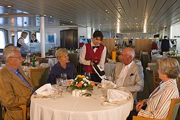 Fine Dining in MS Bremen Restaurant, Aboard MS Bremen Cruise Ship, Hapag-Lloyd Kreuzfahrten, Germany