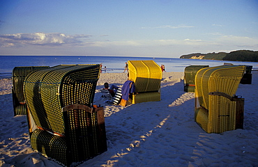 Beach chairs with sea view at Binz, Rugen Island, Mecklenburg-Western Pomerania, Germany, Europe